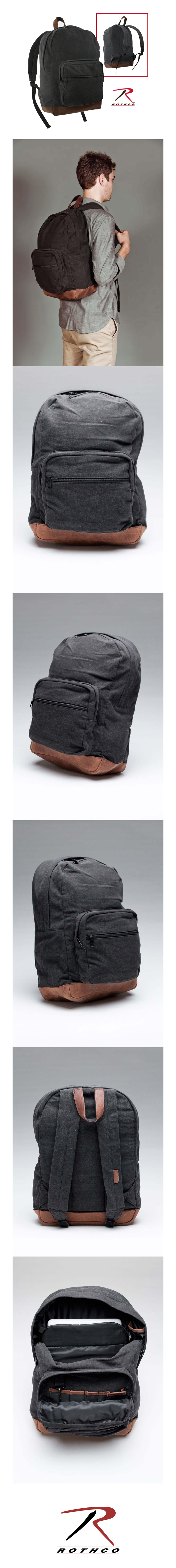 CANVAS TEARDROP PACK BLACK WITH LEATHER