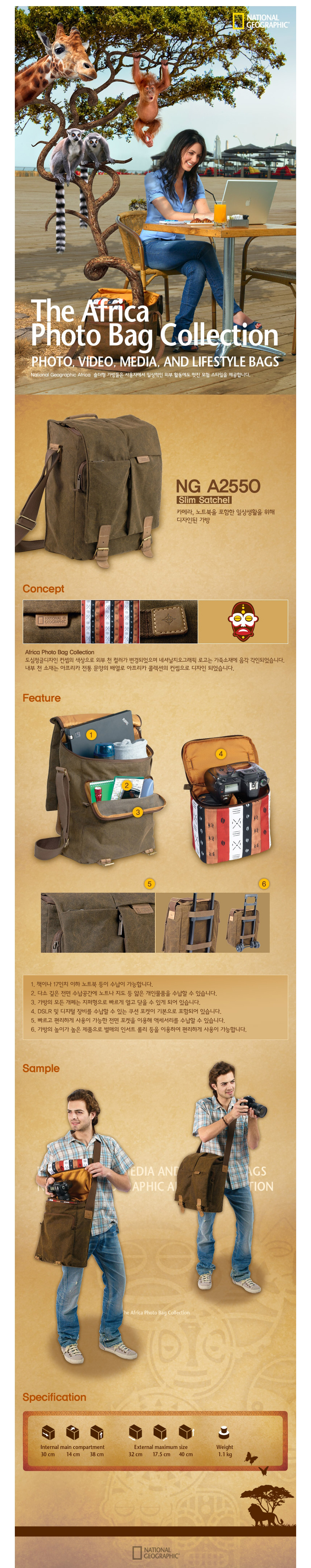 NATIONAL GEOGRAPHIC - NG A2550 Slim Satchel