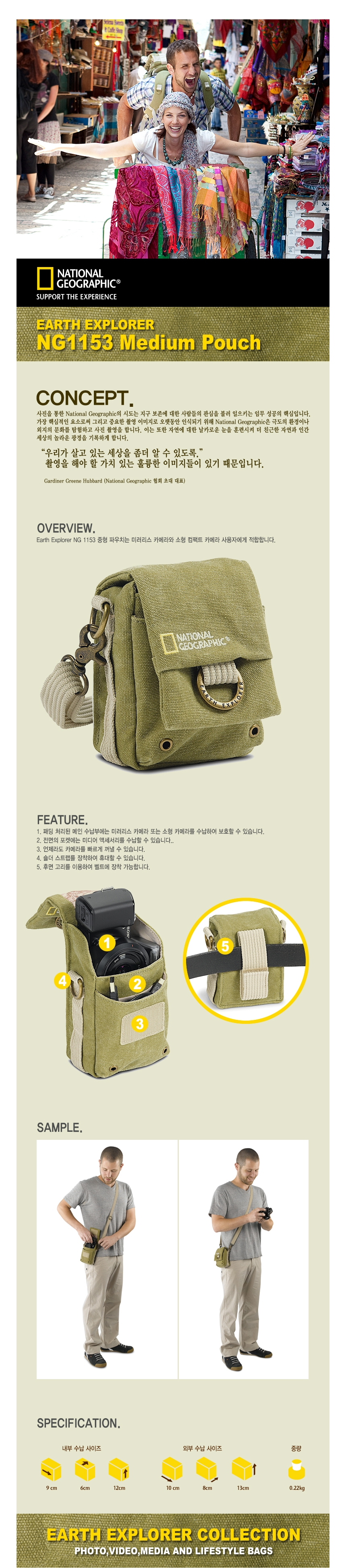 NATIONAL GEOGRAPHIC - (세기정품) NG1153 Medium Pouch