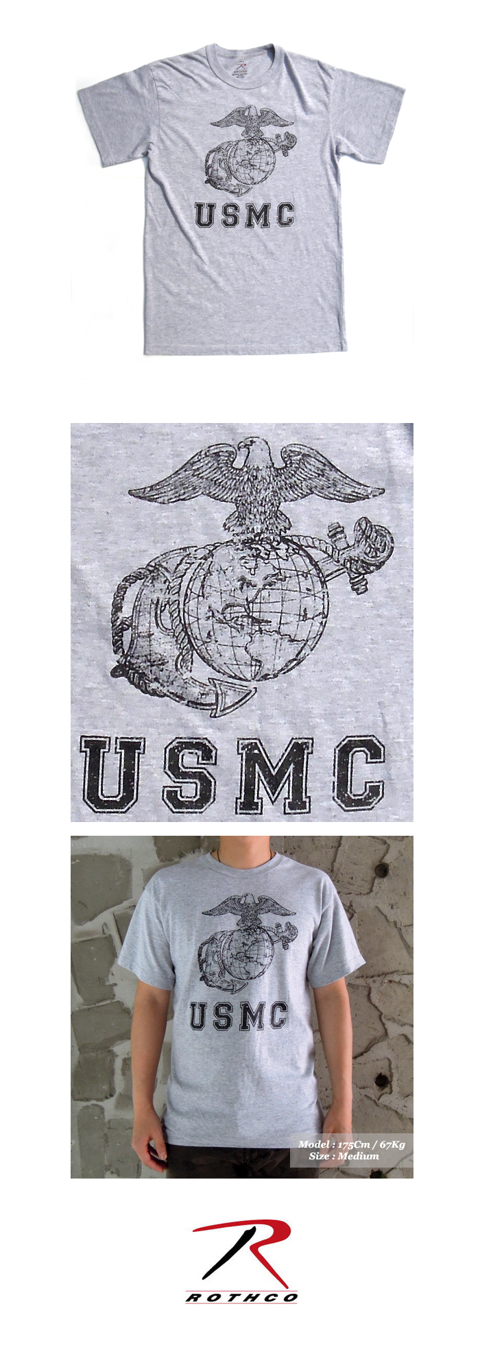 VINTAGE GREY USMC GLOBE AND ANCHOR TEE